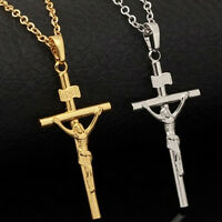 Unisex Gold Silver Plated Jesus Christian Prayer Cross Pendant Necklace Chain BR