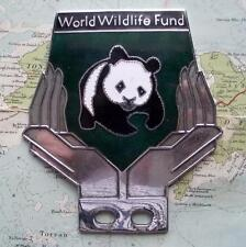 Old Chrome Enamel Vintage Car Mascot Badge : WWF World Wildlife Fund Panda (f)