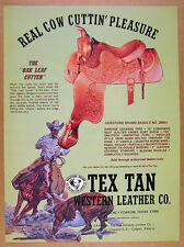 1974 Tex Tan OAK LEAF CUTTER Horse Saddle cowboy art vintage print Ad