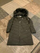 Calvin Klein Womens Long Trench Down Hooded Jacket Black Faux Fur