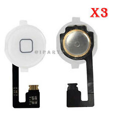 Home Menu Button Flex Cable + Key Cap assembly for iPhone 4 4G (White) Lot of 3