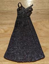 Vintage Mattel Barbie 1977 Original Super Star Black Silver Shimmer Dress #9837
