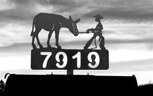 MULE and COWBOY Mailbox Topper Donkey Jack Ass Metal Art Personalized Plasma Cut