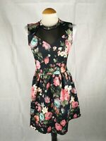 Ladies Dress Size 12 navy Floral Fit And Flare Party Evening Wedding Races