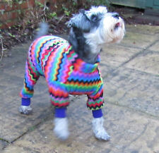 Fleece Onsie Dog Coat/jacket/Pyjamas/PJ's. Elasticated. Muticoloured Zig Zag