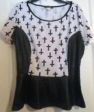 Attitude Unknown Black And White Cross Pleather Peplum Top Sz 3X 3XL Juniors