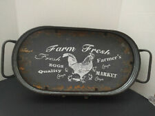 """Farmhouse Country Cottage Galvanized Metal W/Wood Oval Serving Tray """"Farm Fresh"""""""