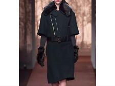 MARNI marron gris foncé/noir laine bordure en fourrure à manches courtes manteau taille 38 ppr 695 $