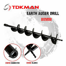 80mm Auger Bit Drill for Petrol Post Hole Digger, Earth Auger, Standard 20mm