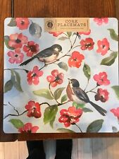 Benson Mills Cork Square Placemats Set Of 4 Spring Songbirds NEW