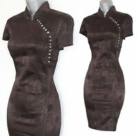 RARE Karen Millen Brown Jacquard Chinese Oriental Style Wiggle Dress UK10  EU38