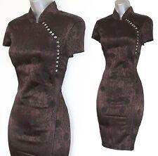 RARE Karen Millen Brown Jacquard Chinese Oriental Style Wiggle Dress UK12  EU40