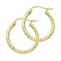 14K Yellow Solid Italian Gold Diamond Cut Hoop Hinged Earrings 1.5 mm 3/4 Inch