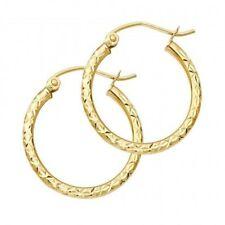 14K Yellow Solid Italian Gold Diamond Cut Hoop Hinged Earrings 1.5 mm 3/4 Inch