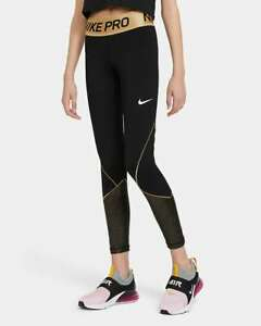 Nike Pro Dri-FIT Filles Training CU8445-010 Leggings Or Noir XL