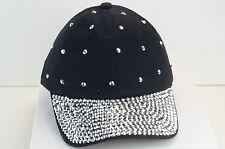 BLING WOMEN BLACK BALL CAP WITH RHINESTONE RIM & RANDOM STONES ON HAT