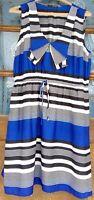 Maurices women's dress size XL collar career sleeveless lined stripes blue/black