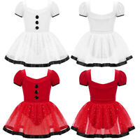 Girls Christmas Santa Dance Costume Fancy Dress Kids Skating Dancewear Leotards