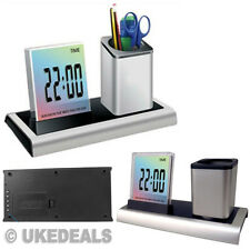 New Office Gift Digital LCD LED Desk Alarm Clock & Mesh Pen Pencil Ruler Holder