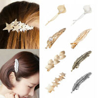 NEW Vintage Pearl Leaf Hair Clips for Women Metal Hairpins Gold Stars Barrettes
