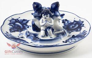 Porcelain Gzhel Egg Holder w Angels Plate Platter Easter Egg Display handmade