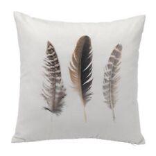Modern Minimalistic Botanical 80% Cotton Feathers Cushion 45cm White Grey