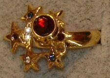 Ladies' Vintage DAC 18KT. Gold Overlay Motion Swinger Ruby Star Rings in Size 4