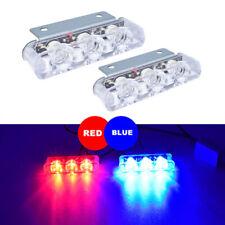 2Pcs 3 LED Strobe Light Motorcycle Rear Brake Stop Flashing Lights Red/Blue Lamp