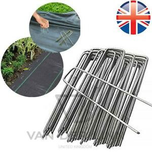 """*UK Seller* 6"""" HEAVY DUTY GALVANIZED Metal Pegs Pins Weed Control Fabric 1M 2M"""