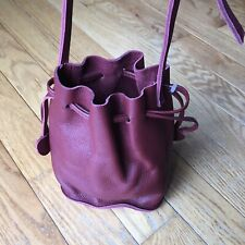 Hand Crafted Burgundy Brown Soft Leather Drawstring Bucket Bag with Coin Purse