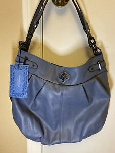 SIMPLY VERA WANG PLEATED Grey BLUE HOBO SHOULDER BAG/PURSE/HANDBAG SV Helena NWT