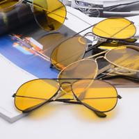 Men Women Driving Night Vision Sun Glasses Yellow Lens UV400 Aviator Sunglasses