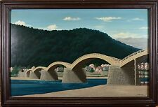 OUTSTANDING Mid Century Oil Painting, Asian Arched Bridge, Signed & Dated 1958!