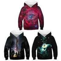 Kids Boys Girls 3D Galaxy Printed Hoodie Sweatshirt Pullover Clothes Jacket Tops