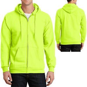 Mens Tall Safety Colors FULL ZIP Hoodie Hooded Sweatshirt LT XLT 2XLT 3XLT 4XLT