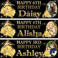 2 x personalized birthday Photo banner Beauty and the Beast Princess Belle Party