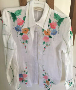 Zimmermann Sample White Linen Shirt With Placement Floral Appliqué, Size 1