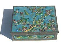 Vintage Cloisone Style Trinket Jewlery Box With Birds Collectible Enamel Like