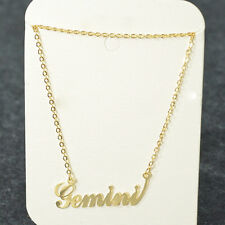""""""" Gemini """" ZODIAC Pendant Necklace Triple Plated Metal Necklace N1122A Gold"""