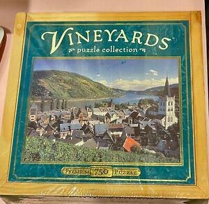 NEW SEALED Vineyards Rhein, Germany 750 Piece Premium  Puzzle With Wooden Box