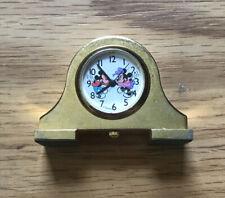 Disney Miniature Mantel Clock Brass Quartz Mickey Mouse Minnie Mouse Japan