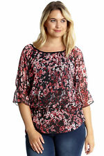 New Ladies Top Plus Size Womens Chiffon Frill Gypsy Tunic Elasticated Nouvelle