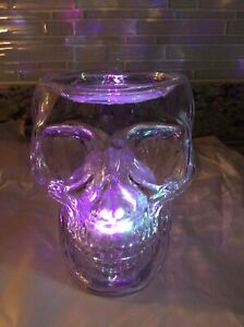 NEW 2021 Bath & Body Works Halloween Glass Skull 3 Wick Candle Holder Lights Up