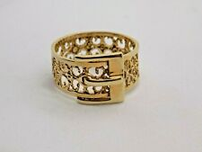 1972 VINTAGE ENGLISH 9CT YELLOW GOLD BELT BUCKLE RING. SIZE X.  5 GRAMS