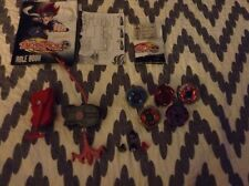 Lot of 5 Beyblade Metal Masters Tops, Extra Bit Chips, 2 Launchers Etc