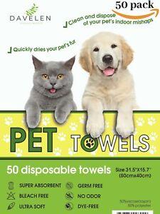"Pet Towels Disposable | Dog Towels | Cat Towels | 50 count, Large 31.5""x15.75"""