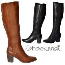 Ladies Girls Elasticated Stretch Knee High Low Heel Winter Boot - Black Tan New