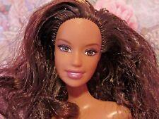 Unique 2005 Teresa Mold Barbie Doll, Curly Brunette Hair Flat Feet Nude OOAK EUC
