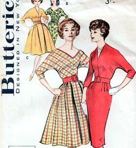 "EASY Vintage 50s SLIM & FULL SKIRT DRESS Sewing Pattern Bust 36"" Sz 12 EVENING"