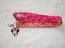 New MINNIE MOUSE LANYARD + Rubber Charm Pink